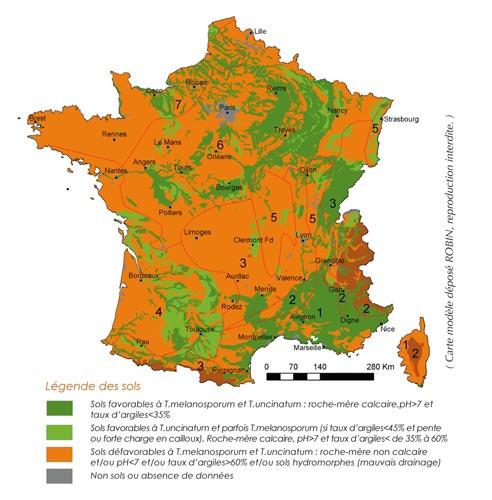 Pedoclimatic zone potentially conducive to truffle farming